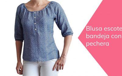Cómo hacer blusa escote bandeja con pechera