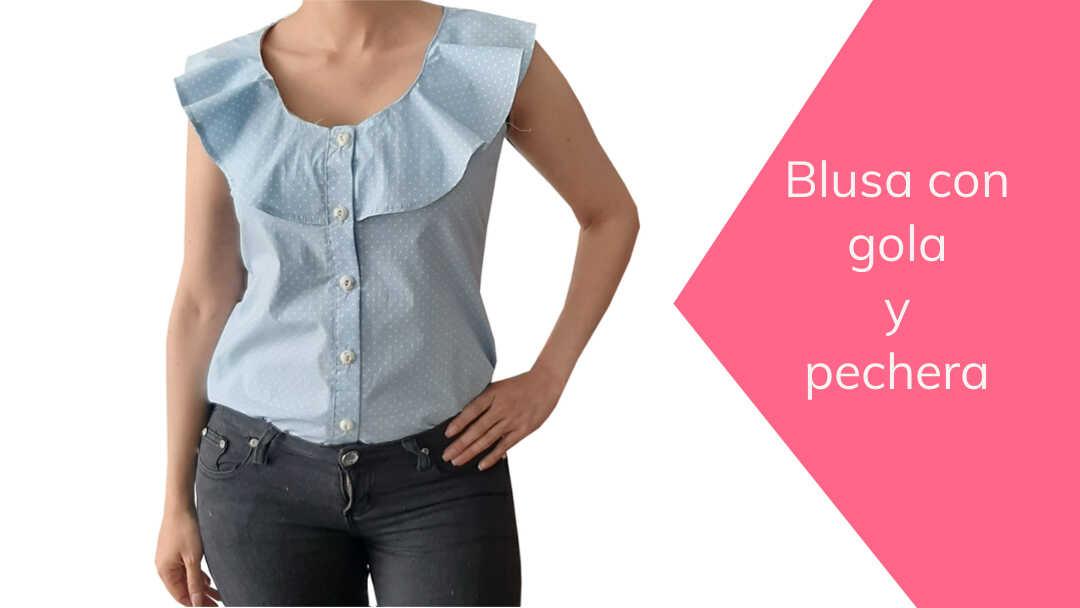 Cómo hacer una blusa con gola en escote y pechera