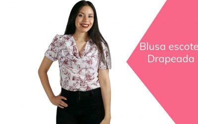Blusa escote drapeado de mujer